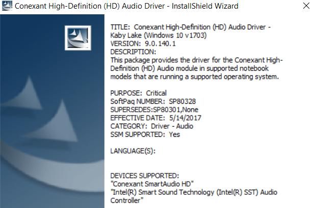 Intel Smart Sound Technology Audio Controller Driver Windows 10