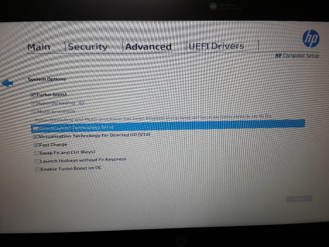 Enabling Hardware Virtualization HP probook 450 G4 - HP Support