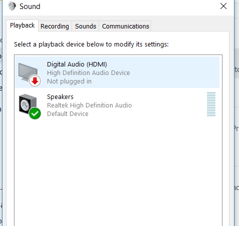 digital audio not plugged in windows 10