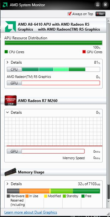 AMD Radeon R7 M260 never activating - only using integrated