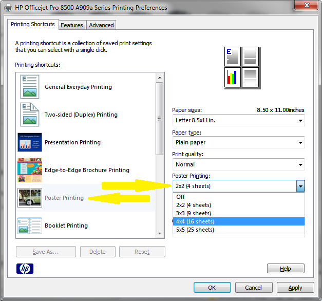 solved: can i print posters 2x2 or 4x4 with officejet pro 8500a? win ...