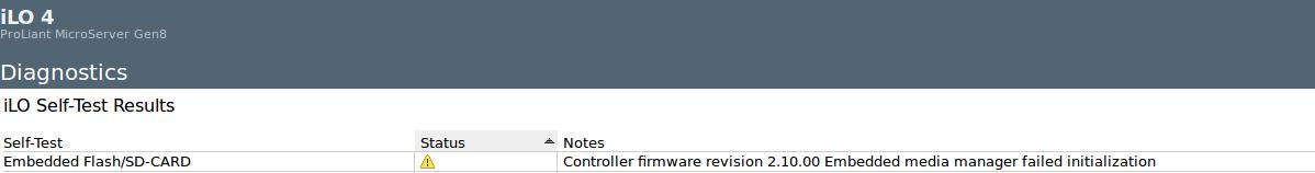 HP Proliant Gen8 SD-CARD issue - iLO diagnostic - HP Support