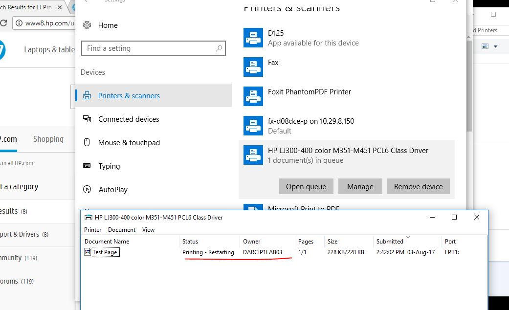 Windows 10 Not Recognizing Laser Jet Pro 400 M451dn As A
