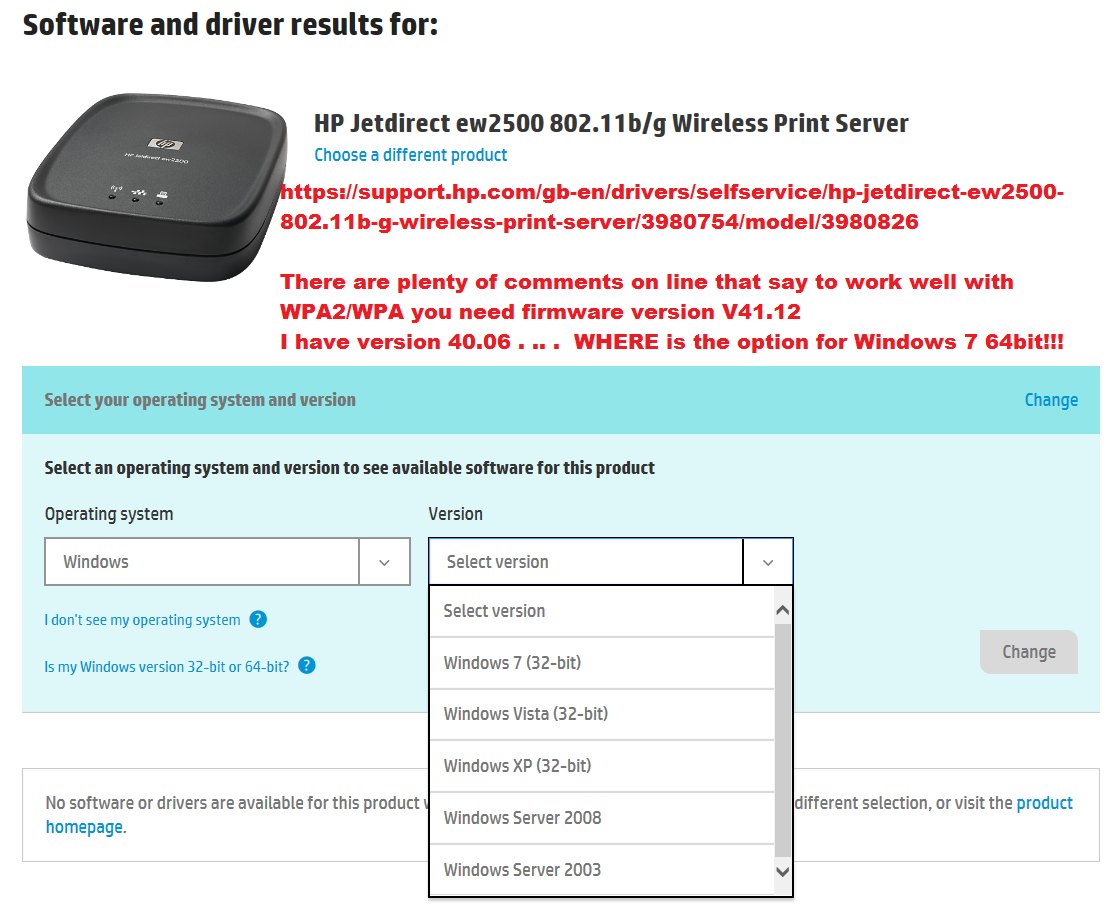 HP Jetdirect ew2500: WPA2 working fine then stops after Wire... - HP