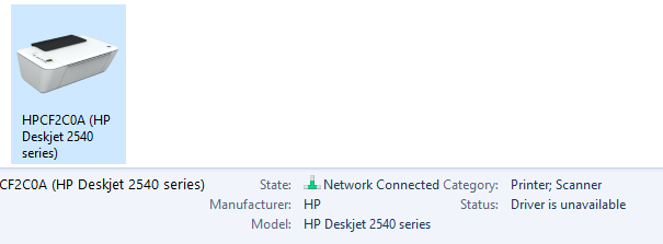 deskjet 2540 all in one  drivers unavailable  windows 10
