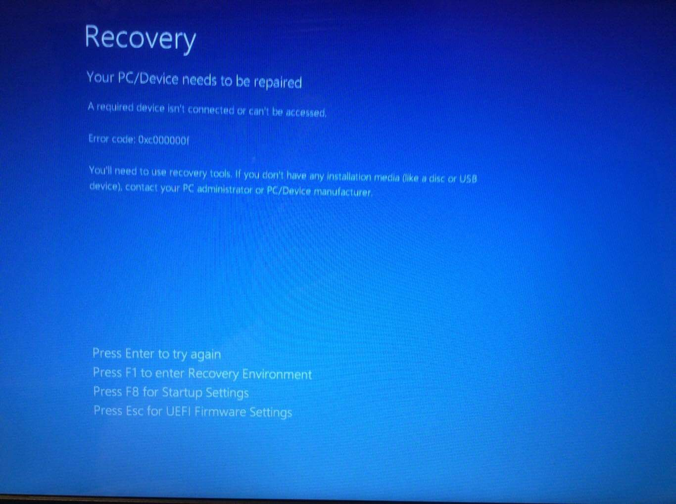 Solved: Error code: 0xc00000f - HP Support Community - 6289125