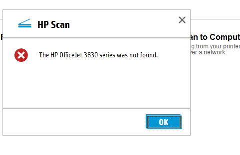 HP Office Jet 3830 will not scan - HP Support Community