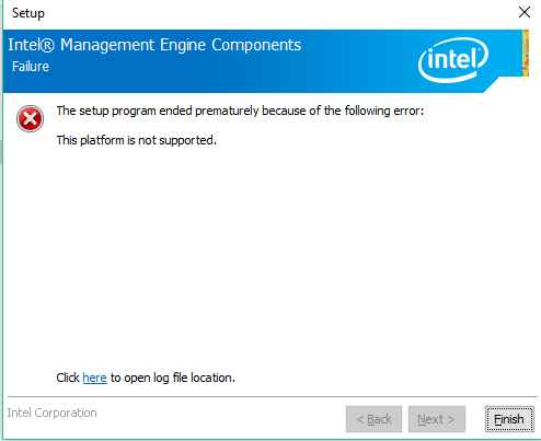 Intel Full Management Engine (ME) Firmware Component Install