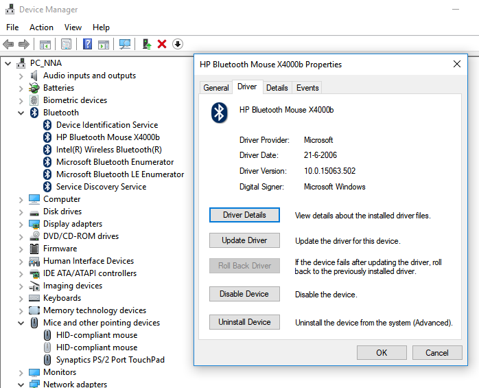 Hp Bluetooth Mouse X4000b Is Connected Paired In Windows 10 Hp Support Community 6328581