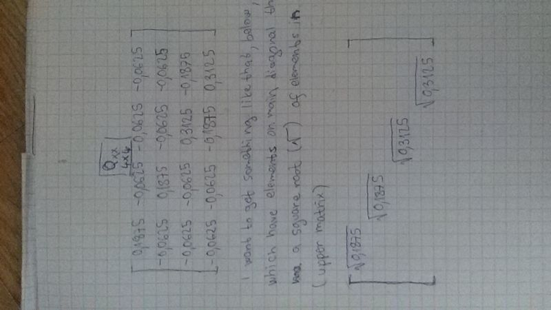 Another task how to get diagonal matrix of squareroot elements in previous matrix...