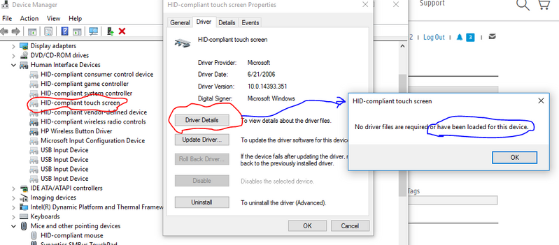 How to get back touchscreen driver after reinstalling window