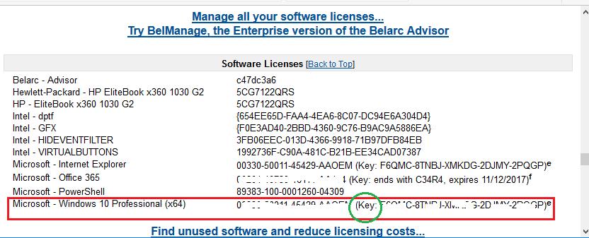 find windows product key belarc