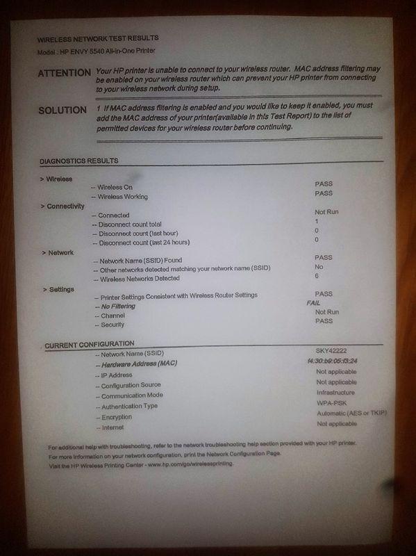 mac address filtering hp wireless printer