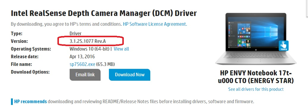 RealSense Camera Missing in Device Manager After Windows 10     - HP