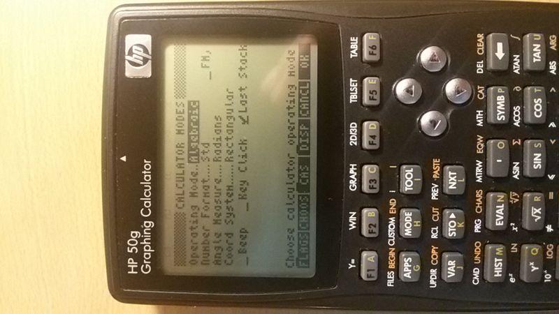 When I switch mode to Algebraic ...