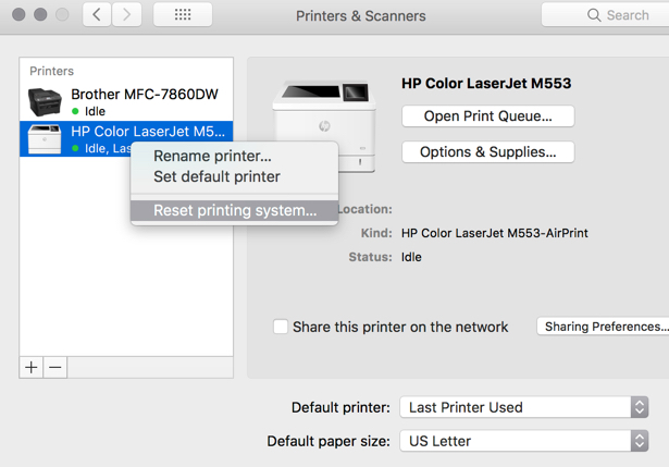 After Update to Mac OS 10 13 High Sierra - Printer M553dn un