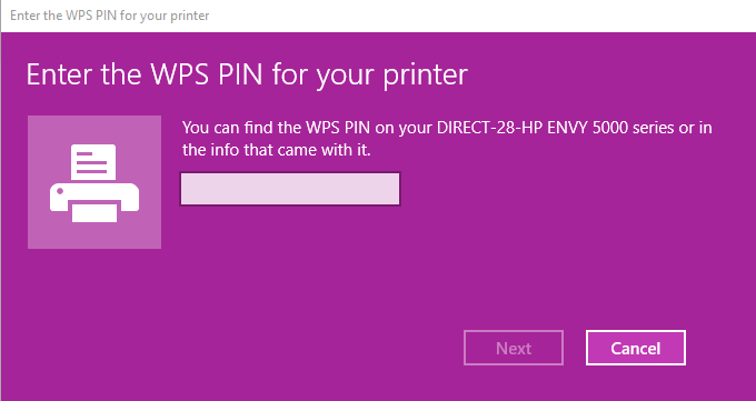 Windows 10 is asking for WPS Pin from the printer  - HP