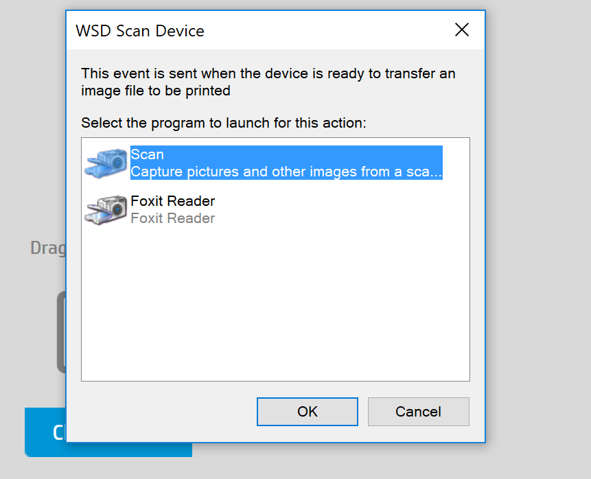 How skip the WDS Scan Device message on Windows ? - HP