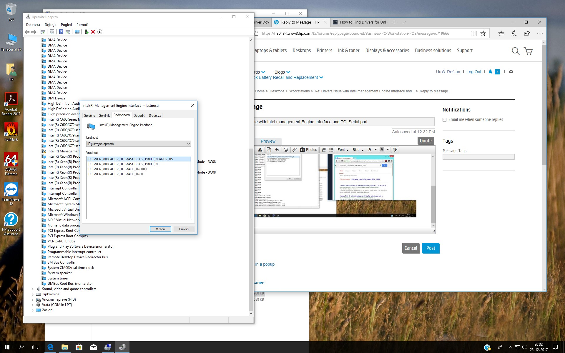 Drivers issue with Intel management Engine Interface and PCI