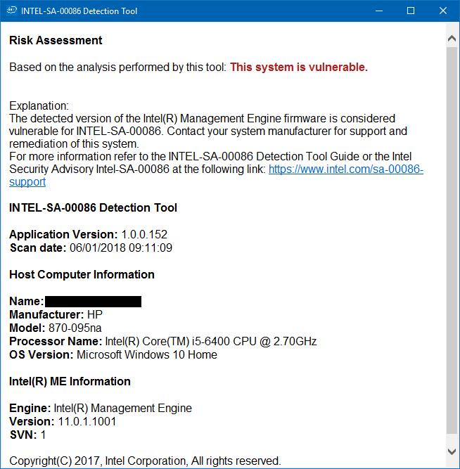 Solved: Intel(R) Management Engine Vulnerability - HP