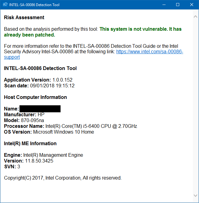 Solved: Intel(R) Management Engine Vulnerability - HP Support
