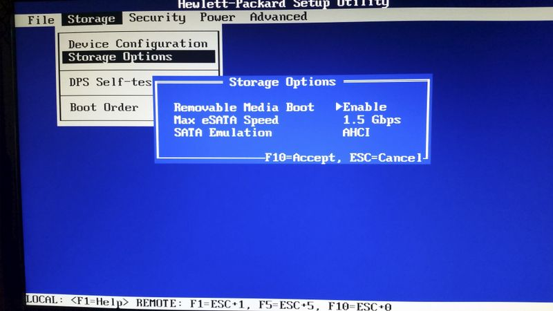 "BIOS' ""Storage Options>Removable Media Boot>Enable"" set properly to allow boot from USB"