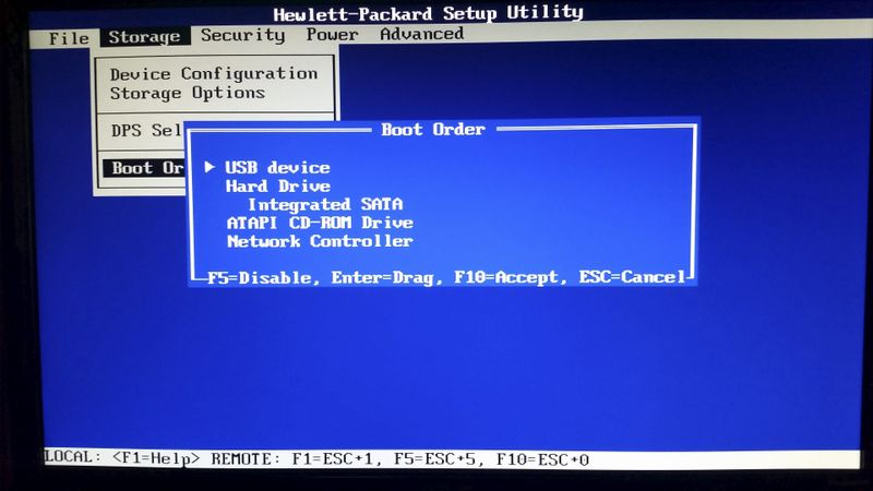 "BIOS' ""Storage Options> Boot Order "" set properly to boot from USB first"