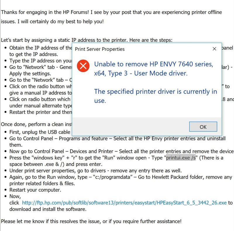 Printer Trouble Shoot Error Removing Driver.JPG