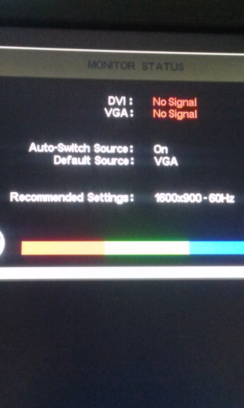 Monitor display no signal and then goes to Sleep when turns