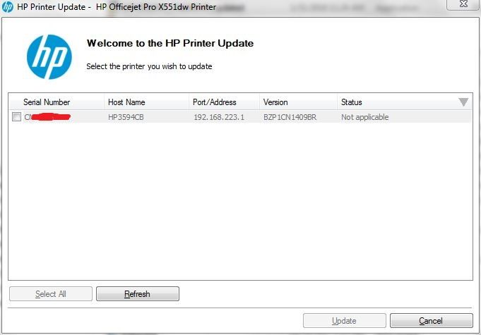 Not applicable when updating firmware for HP Officejet Pro 8