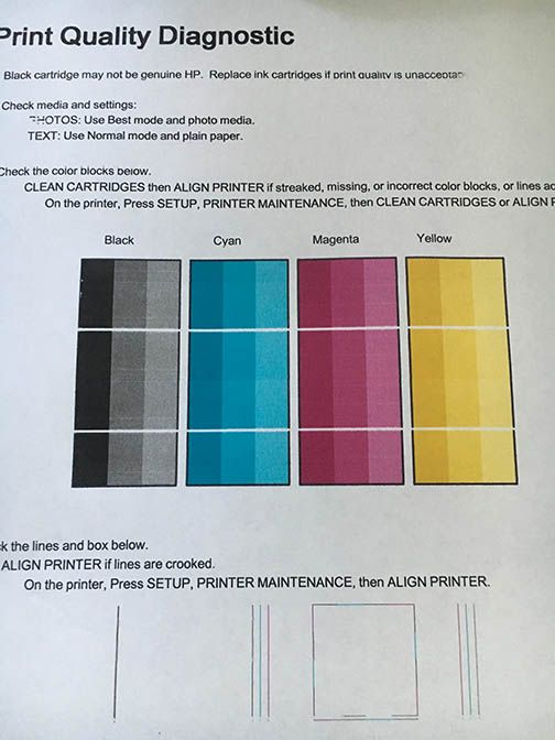 printed page has blank lines every 1 25 inches hp support