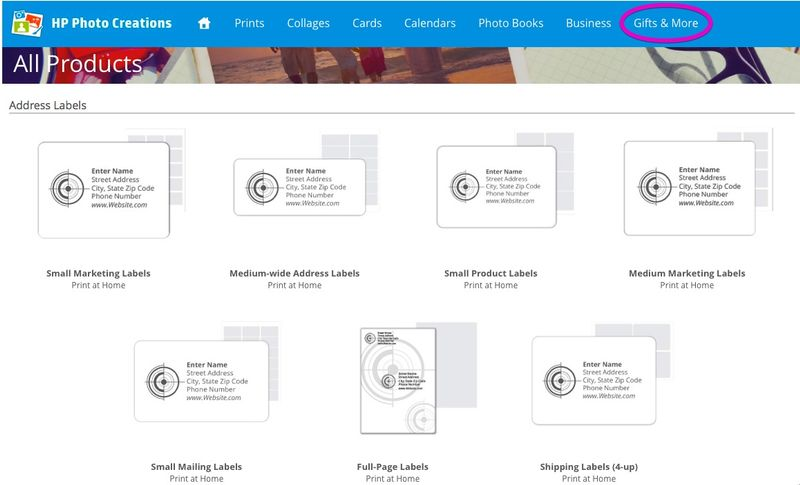 HP Photo Creations International Labels