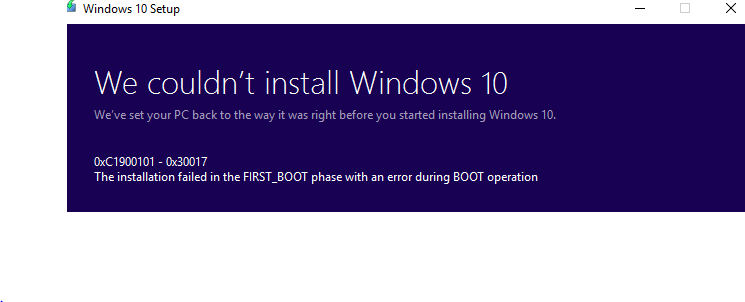 Fail to install/update windows 10 version 1709 from version     - HP