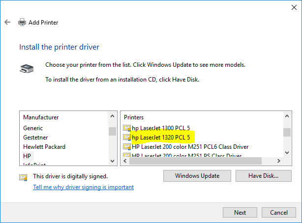 Driver for LaserJet 1320nw for Windows 10 - HP Support Community - 6652515