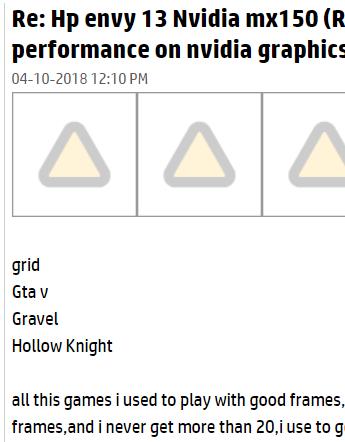 Hp envy 13 Nvidia mx150 (REALLY Bad performance on nvidia gr