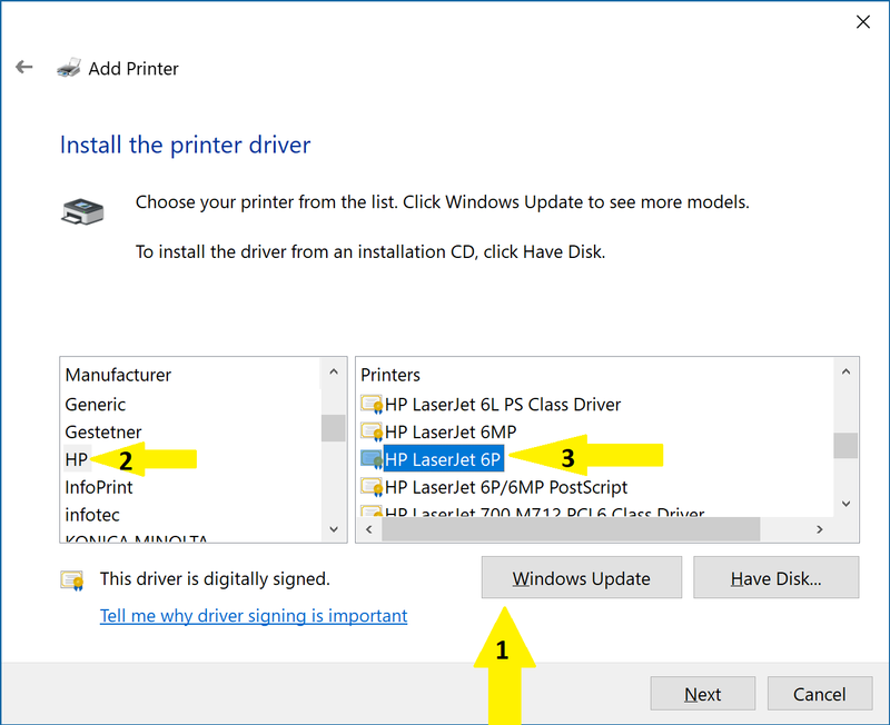 how do i get my hp laserjet 6p to work with windows 10 hp support rh h30434 www3 hp com