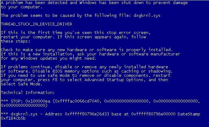 after windows 10 update thread stuck in device driver
