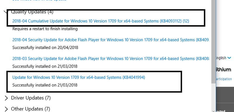 cumulative update windows 10 1709 failed