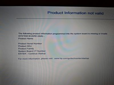 HP Probook 650 G1 - Product Information Not Valid - HP