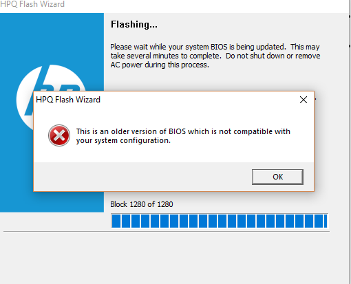 Downgrade Bios from F 64 to F 43 giving me an error 'this is    - HP