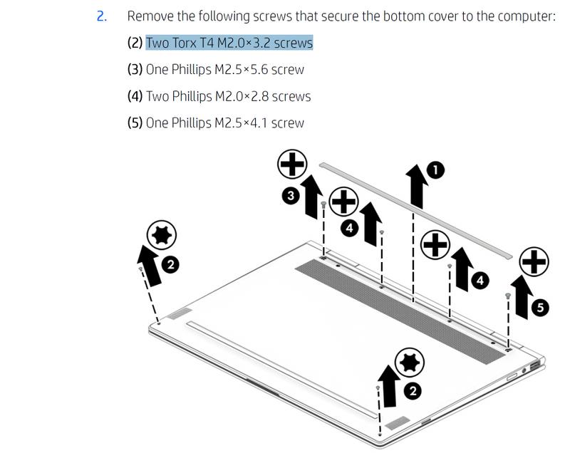 Torx T4 M2 ×3 2 screws Where to buy screws for my Spectre x3    - HP
