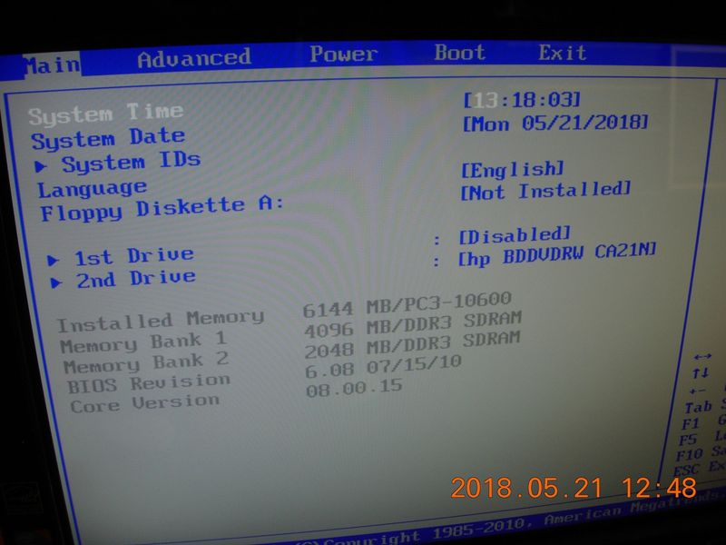 The BIOS shows the hard drive is Disabled