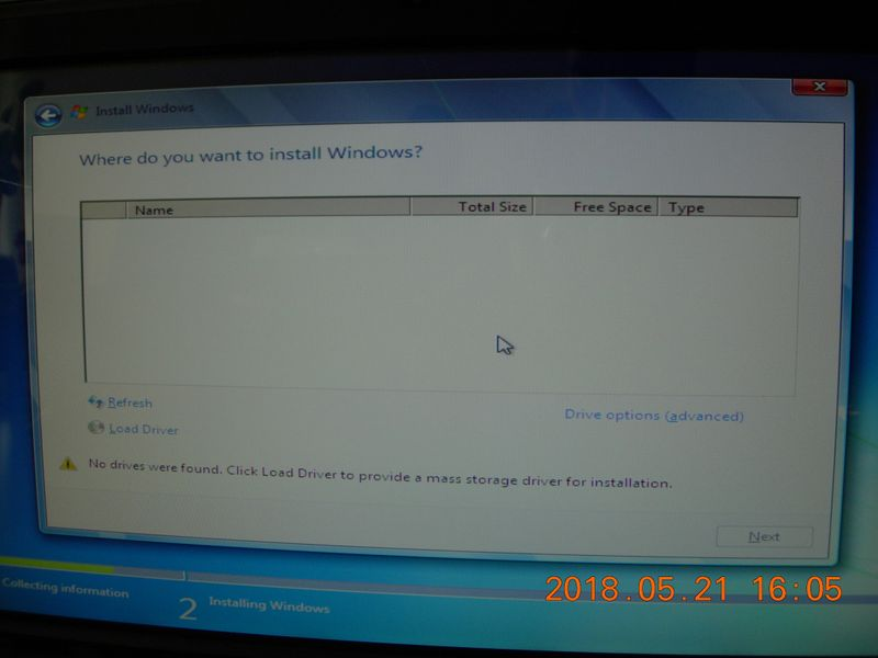 When trying to install a new Windows, it could not find the hard drive to do so.