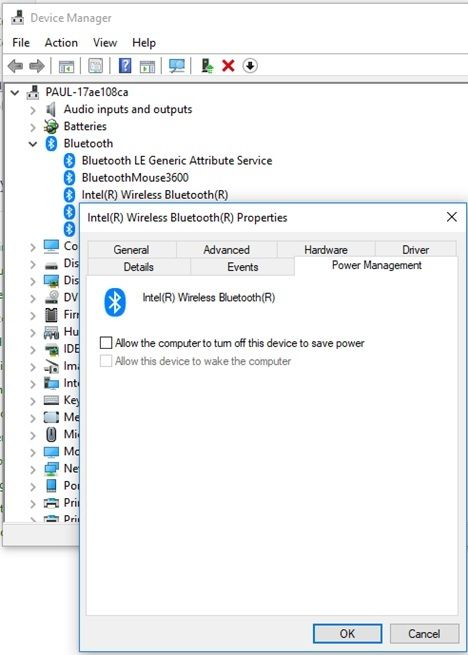 Can't use bluetooth mouse or keyboard to wake up computer fr