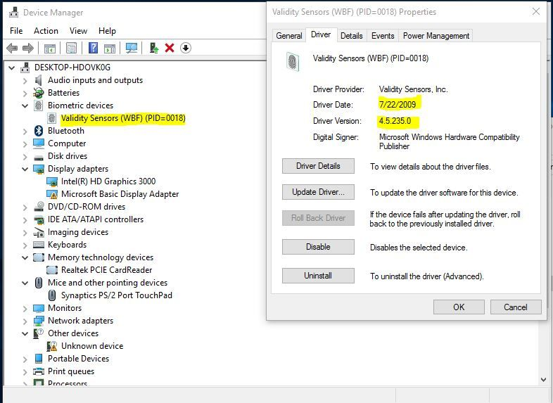 synaptic fingerprint driver windows 10 hp