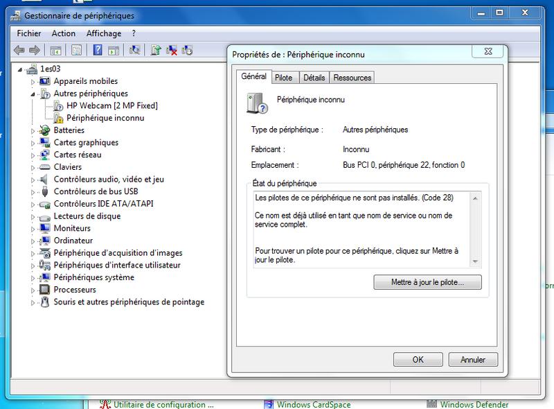 controleur pci de communications simplifiées hp windows 7