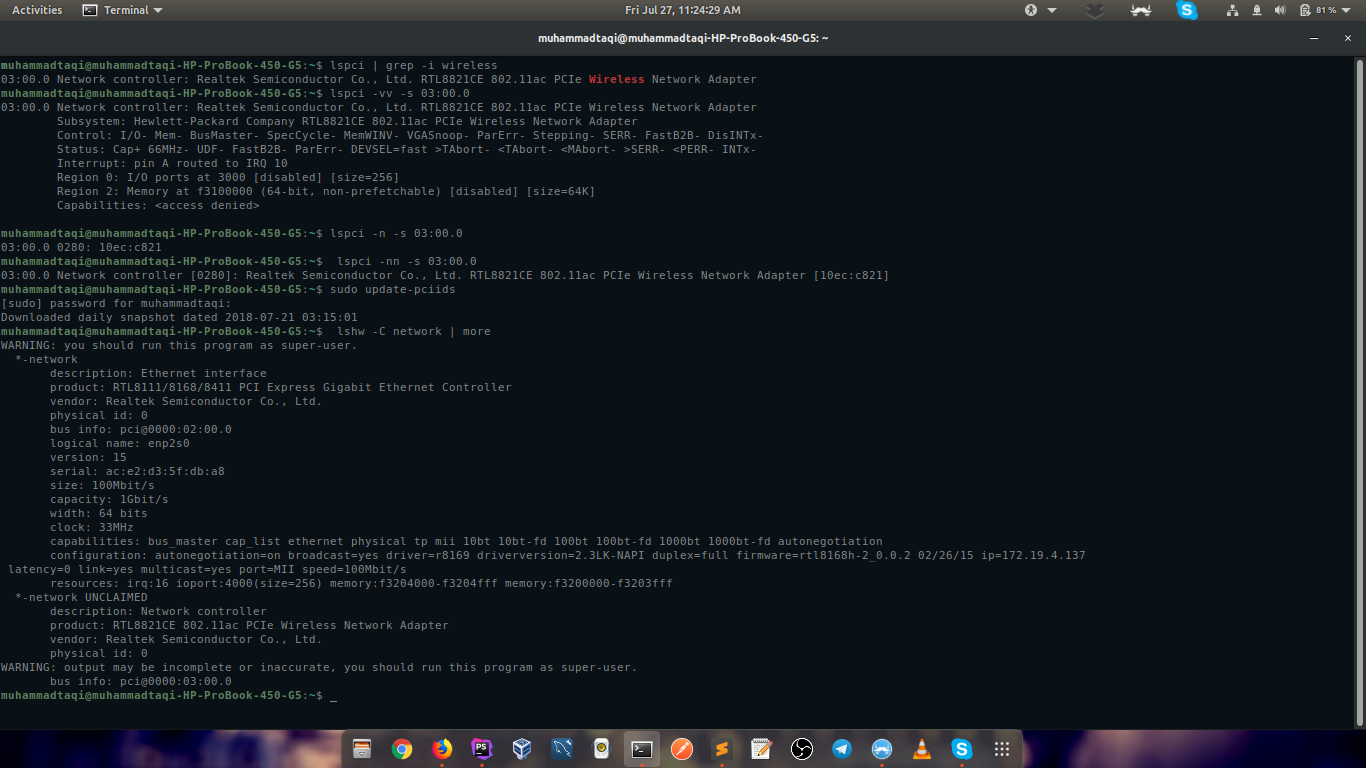 Solved: No WiFi option in Ubuntu 18 04 in HP ProBook 450 G5 - HP