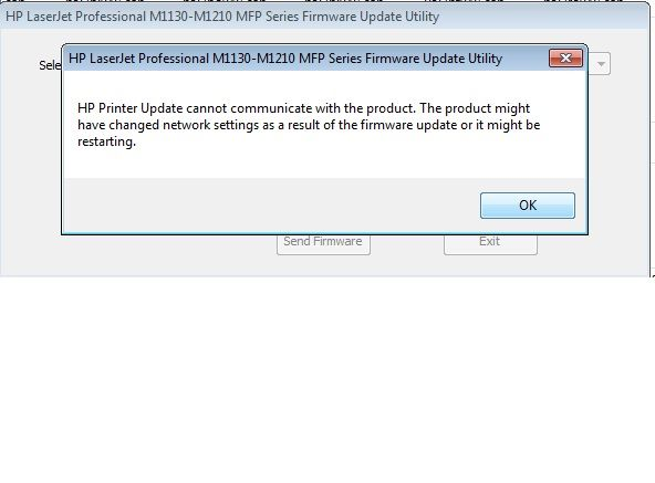 Firmware updating issue in HP Laserjet m1136 printer  - HP