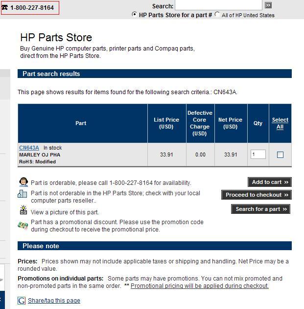 Hp Parts Store >> Photosmart Wireless B109n Ink System Failure Support Docum