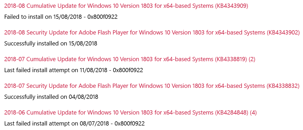 Solved: Cumulative Update for Windows 10 Version 1803 for